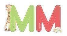 Dřevěné písmeno M Sophie The Giraffe Janod lepící 7 cm zelené/červené