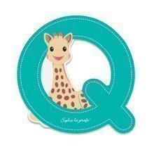 Dřevěné písmeno Q Sophie The Giraffe Janod lepící 7 cm tyrkysové
