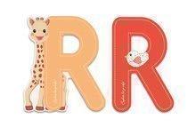 Dřevěné písmeno R Sophie The Giraffe Janod lepící 7 cm oranžové/ ervené
