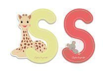 Dřevěné písmeno S Sophie The Giraffe Janod lepící 7 cm béžové/červené