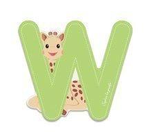 Dřevěné písmeno W Sophie The Giraffe Janod lepící 7 cm zelené
