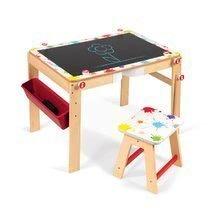 Dřevěná školní lavice a tabule Splash Janod 2v1 magnetická, polohovatelná s poličkou a doplňky od 3-8 let