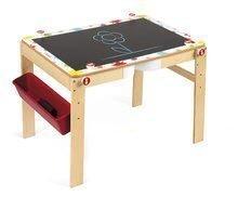 Drevená školská lavica a tabuľa Splash Janod 2v1 magnetická, polohovateľná s poličkou a doplnkami od 3-8 rokov