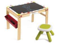 Set dřevěná magnetická školní lavice Splash Janod s tabulí 2v1 polohovatelná a židle