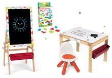 Set dřevěná magnetická školní lavice Splash Janod s tabulí 2v1 polohovatelná, židle a magnetická písmenka