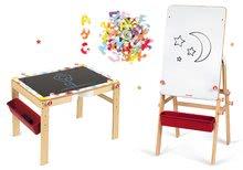 Set dřevěná magnetická školní lavice s tabulí Splash Janod 2v1 polohovatelná a magnetické písmenka