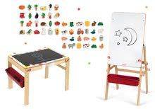 Set drevená magnetická školská lavica s tabuľou Splash Janod 2v1 polohovateľná a magnetky drevené 48 ks