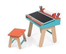 Fa iskolapad Orange&Blue Janod nyitható, székkel és 5 db kiegészítővel narancssárga-kék