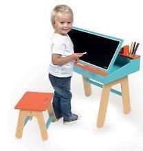 Školské lavice - Drevená školská lavica Orange&Blue Janod otvárateľná so stoličkou a 5 doplnkami oranžovo-modrá_0