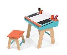 Školské lavice - Drevená školská lavica Orange&Blue Janod otvárateľná so stoličkou a 5 doplnkami oranžovo-modrá_1