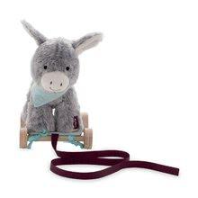 Ťahacie hračky - Plyšový somárik na ťahanie Les Amis 2v1 Kaloo so zvončekom 27 cm z jemného plyšu pre najmenších šedý_0