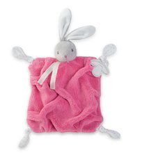 Plyšový zajačik maznáčik Plume Doudou 20 cm šedo-malinový pre bábätká v darčekovom balení K969567