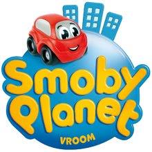 Sety autíčka - Set trenažér V8 Driver Smoby elektronický so zvukom a svetlom a dvojposchodová garáž Vroom Planet s 2 autíčkami_24