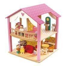 Drevený domček pre bábiku Pink Leaf House Tender Leaf Toys rotujúci s komplet vybavením a 4 postavičkami 39*38*46 cm TL8121