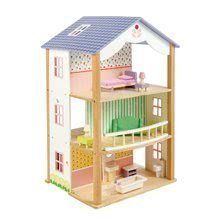 Fa babaház Bluebird Villa Tender Leaf Toys 15 részes, nyitott stílusban komplett felszereléssel