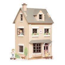 Városi fa babaház Foxtail Villa Tender Leaf Toys 12 részes, bútorokkal felszerelve, 71 cm magas