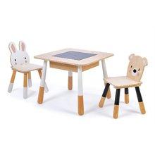 Drevený detský nábytok Forest table and Chairs Tender Leaf Toys stôl s úložným priestorom a dve stoličky medveď a zajac TL8801