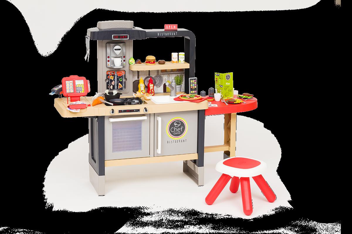 Reštaurácia s elektronickou kuchynkou Chef Corner Restaurant Smoby obojstranná s tečúcou vodou a špecialitami výškovo nastaviteľná 70 doplnkov