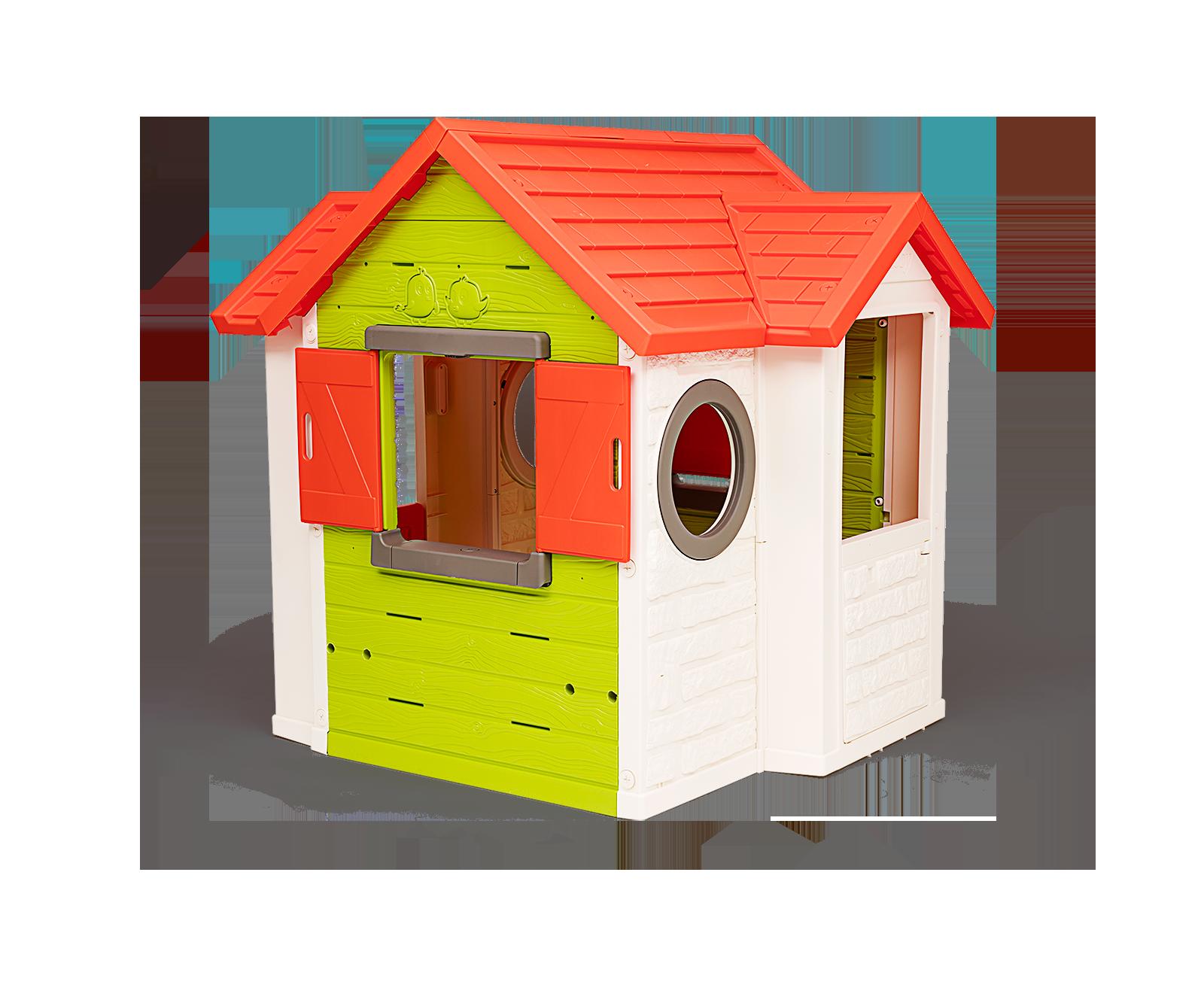 Domček My Neo House Smoby 1 dvere 2 okná s okenicami a 2 kruhové okná rozšíriteľný od 2 rokov