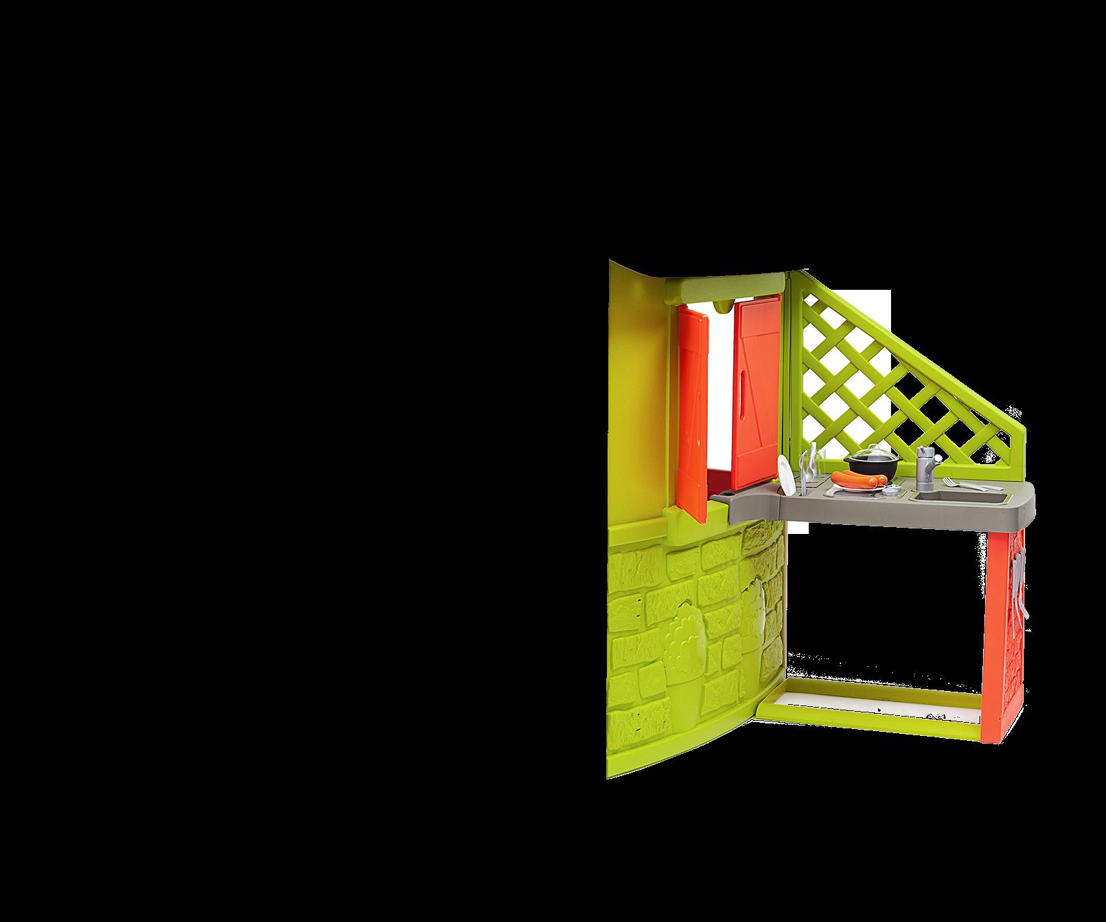 Domček Neo Jura Lodge Smoby rozšíriteľný 2 dvere 2 okná s okenicami a kŕmidlo pre vtákov od 2 rokov