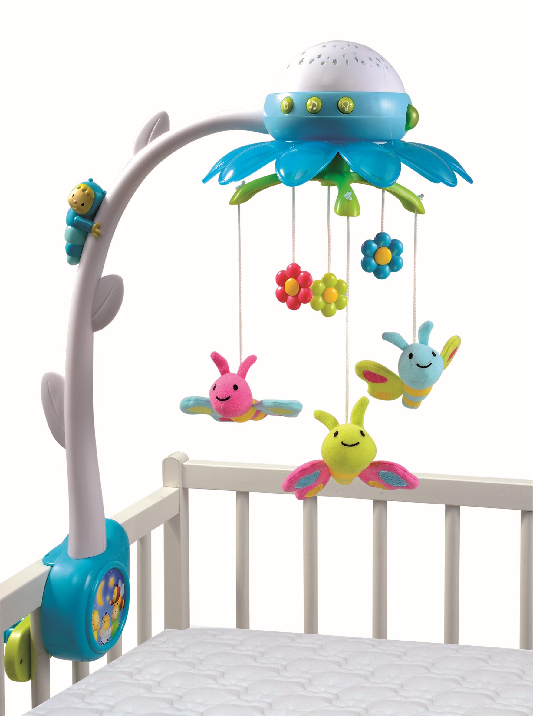 SMOBY 211407 modrý kolotoč nad postieľku s hudbou a svetlom Cotoons pre najmenšie deti
