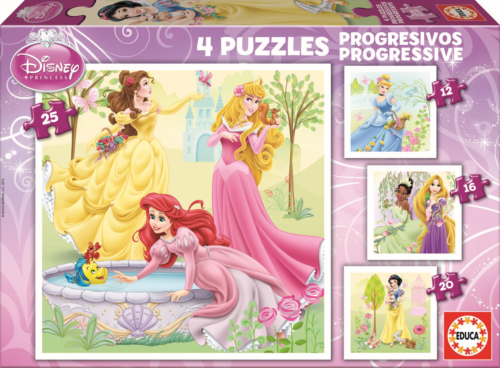 Puzzle Disney Princezné Educa 25-20-16-12 dielov od 24 mes