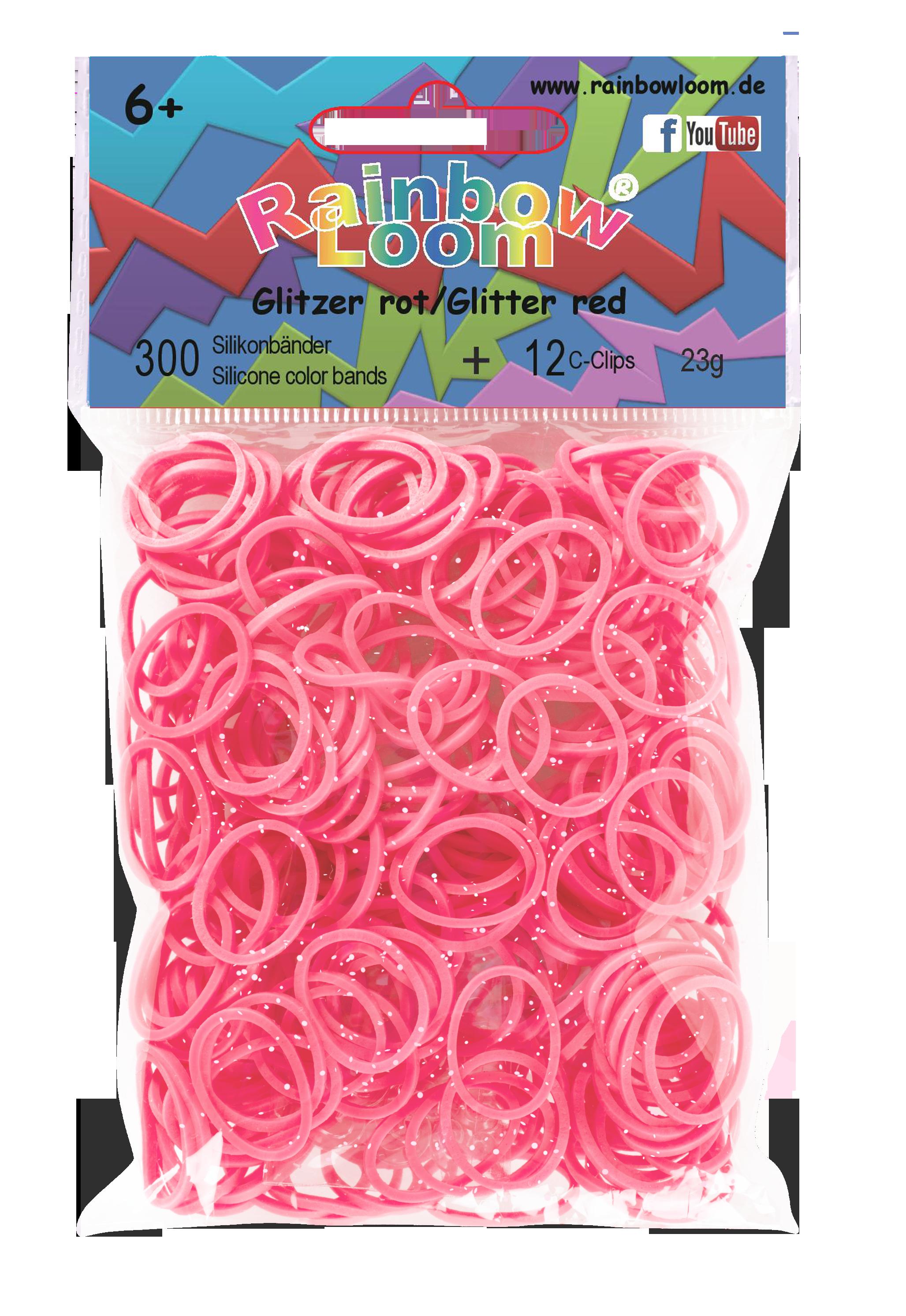 RAINBOW LOOM 20341 Original gumičky 300 kusů třpytivě červené 05448