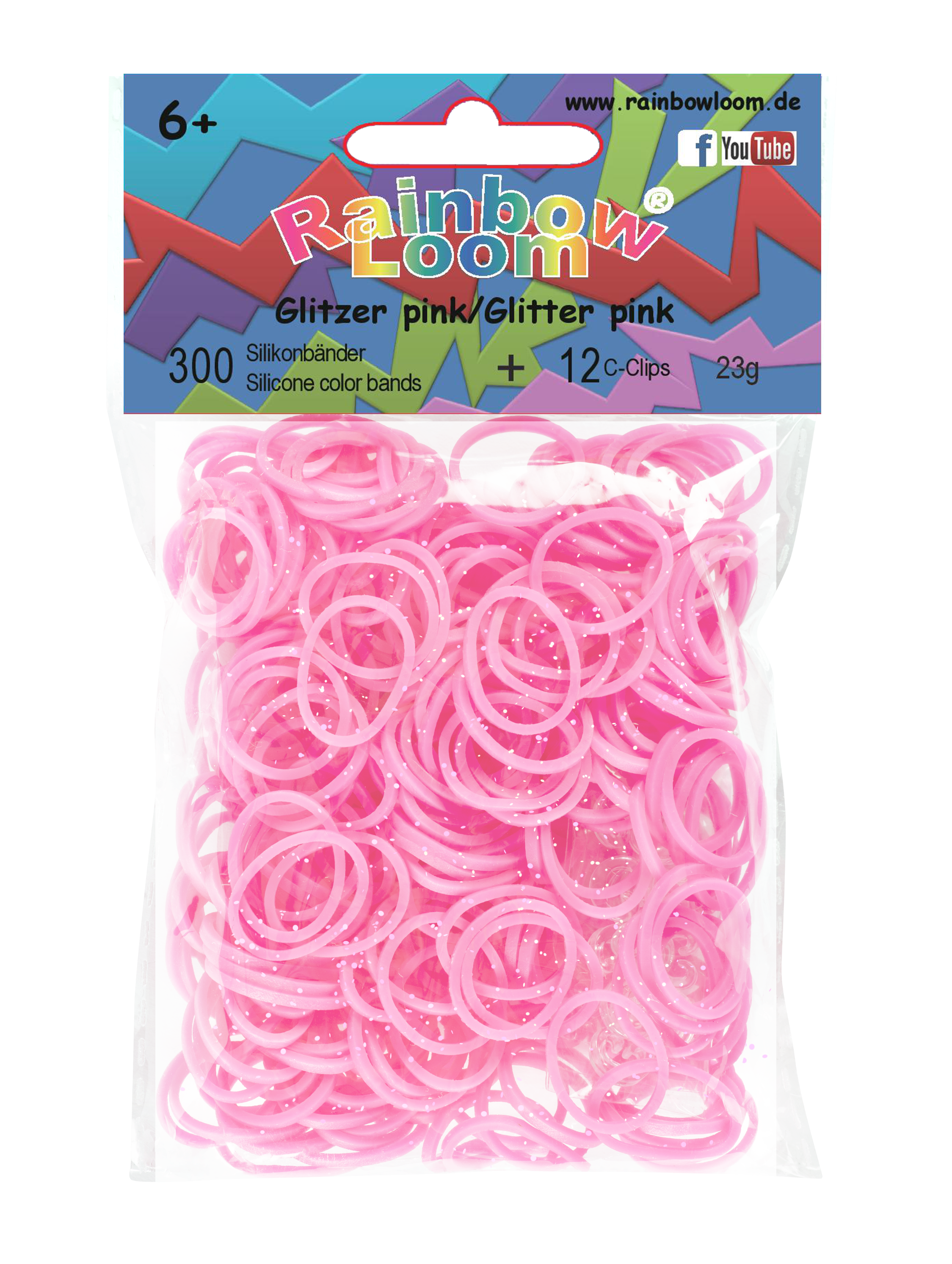 Rainbow Loom gumičky trblietavé - Rainbow Loom originálne trblietavé gumičky 300 kusov ružové od 6 rokov