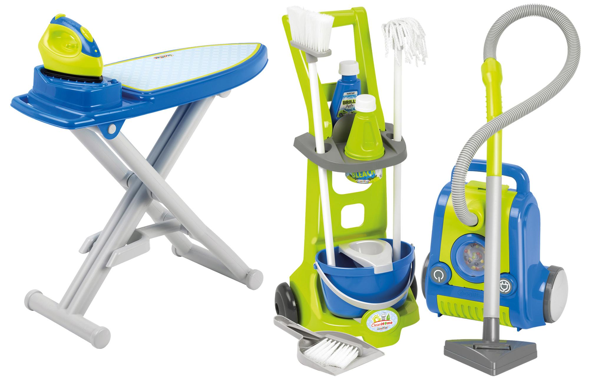 Čistilni set CleanHome Écoiffier voziček s sesalnikom in likalna deska z likalnikom