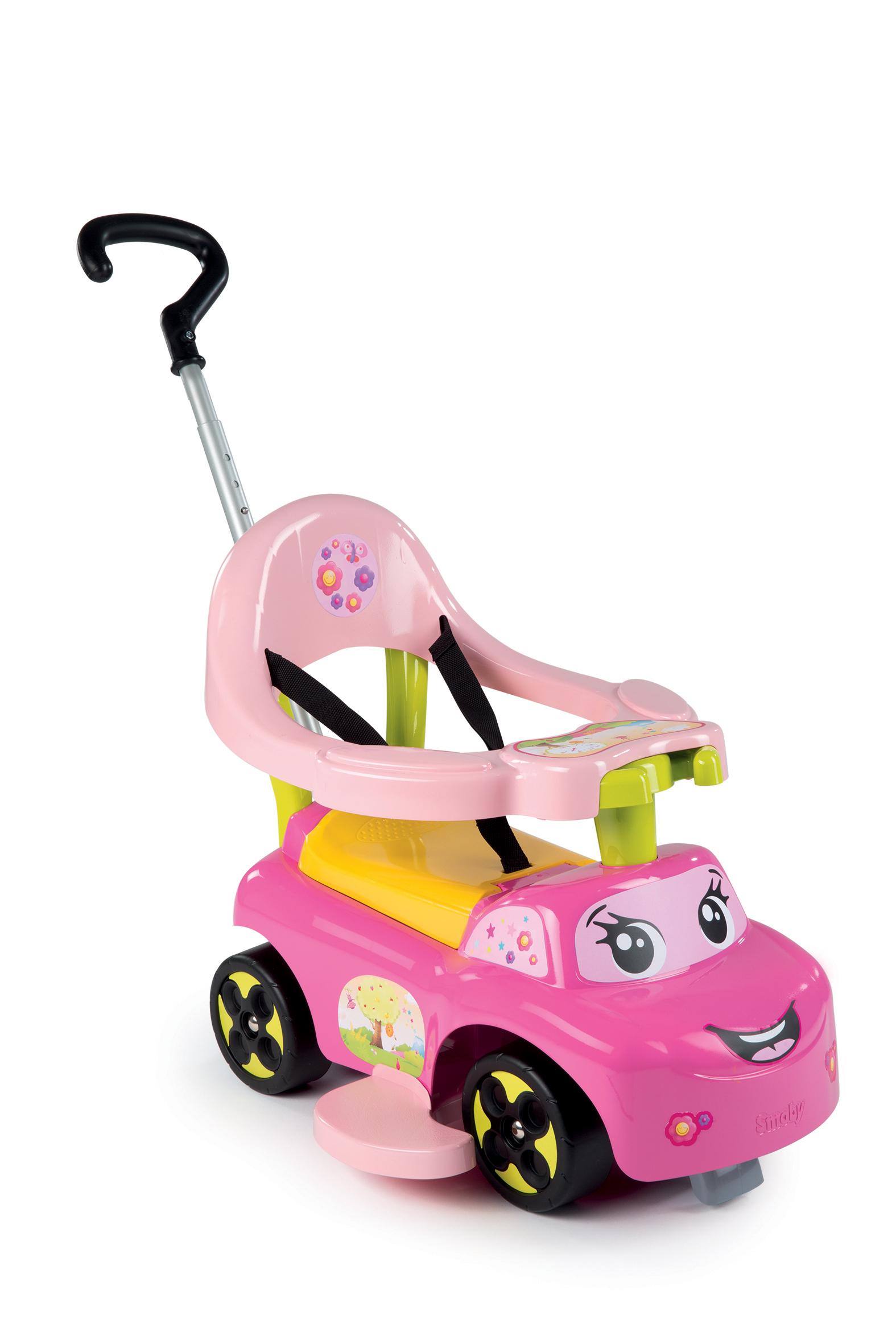 SMOBY 445011 Bébitaxi Auto Balade Fille és járóka tolókarral és kerettel rózsaszín 6-36 hó korig