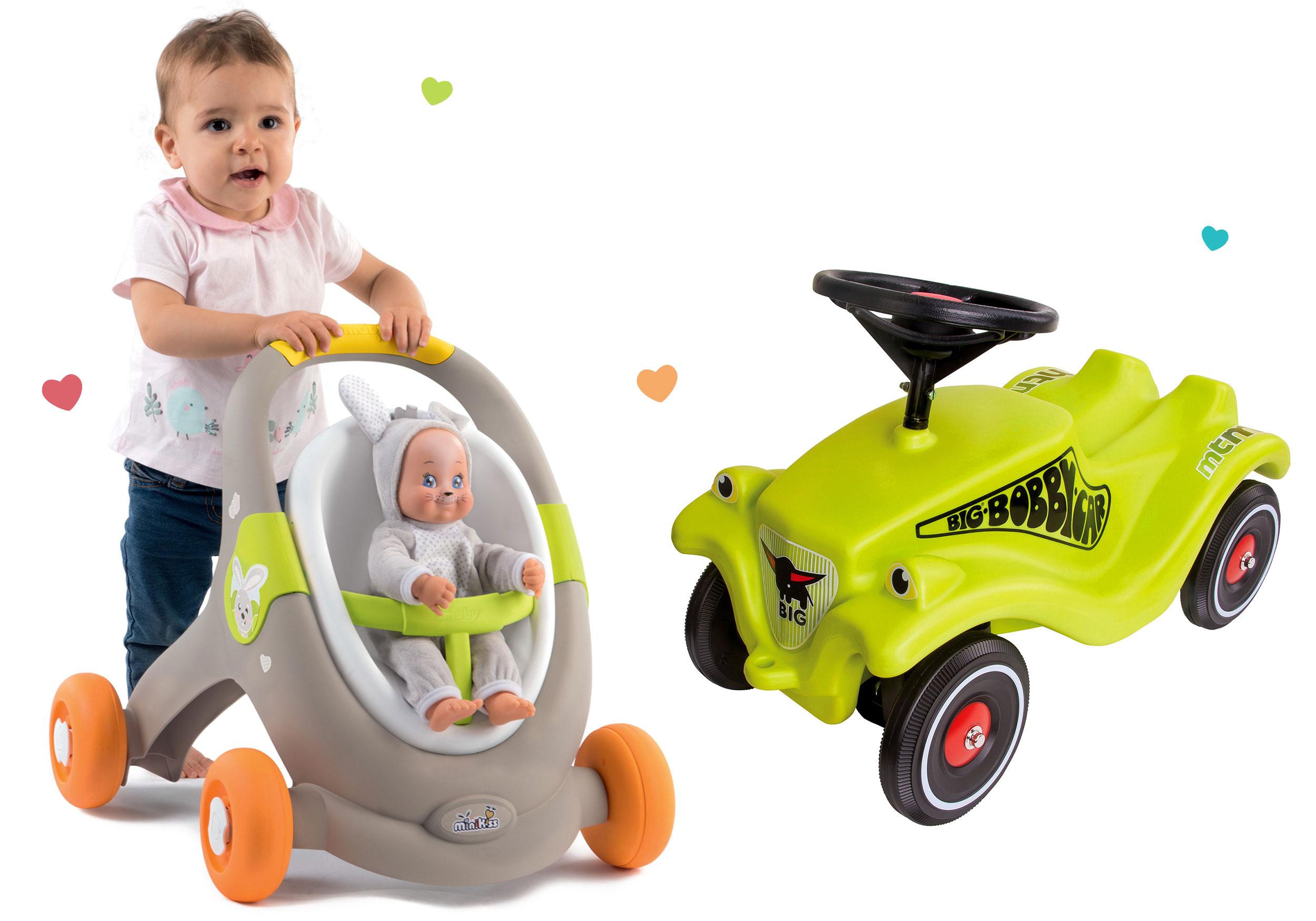 Set chodítko a kočík s autosedačkou zvieratká Animal MiniKiss 3v1 Smoby s brzdou a odrážadlo auto Bobby Car Classic Green