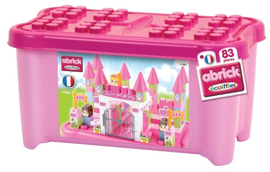 ECOIFFIER 7748 Maxi Abrick építőkockák hercegnő várában IML nyomtatású nagy kockákkal rózsaszín dobozban 83 db 12 hó kortól