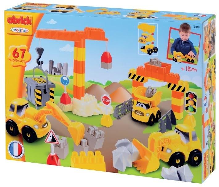 ECOIFFIER 3085 Abrick építőkockák Gyors autók Munkagépek daruval és 3 autóval 67 db 18 hó kortól