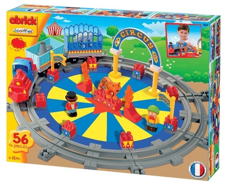 ECOIFFIER  3164 Abrick építőkockák Cirkusz vonat sínekkel 5 figurával 56 db 18 hó kortól