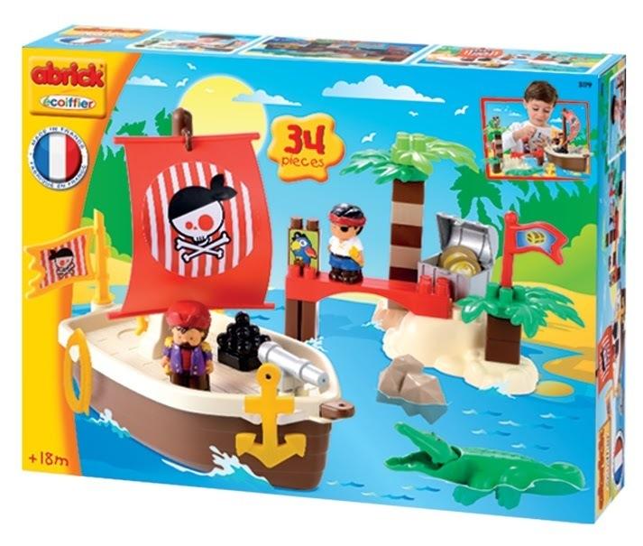 ECOIFFIER 3179 Abrick építőkockák Kalózhajó szigettel krokodillal 2 kalózzal 34 db 18 hó kortól