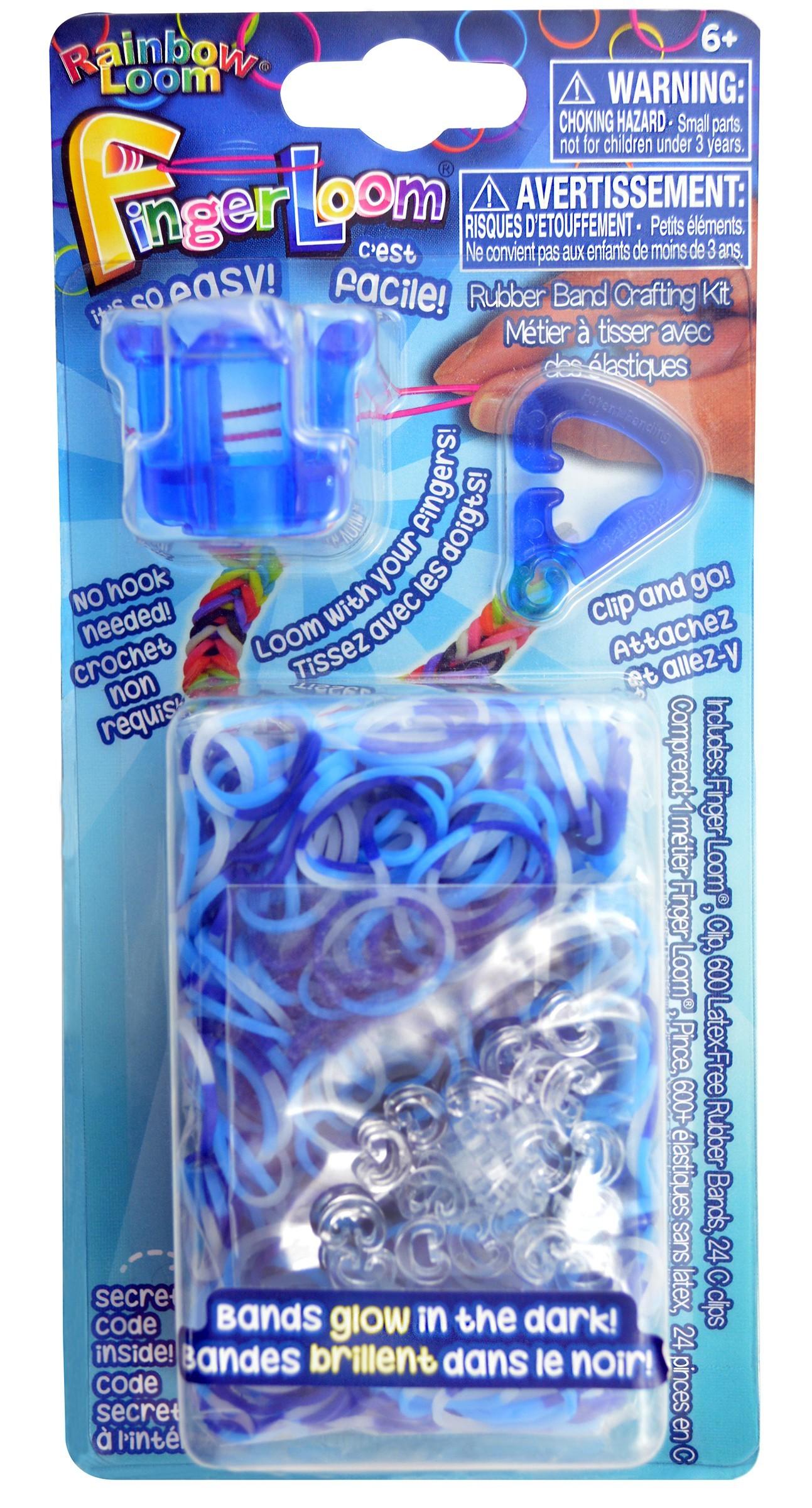 Rainbow Finger Loom - Finger Loom Rainbow Loom modrý 600 kusov