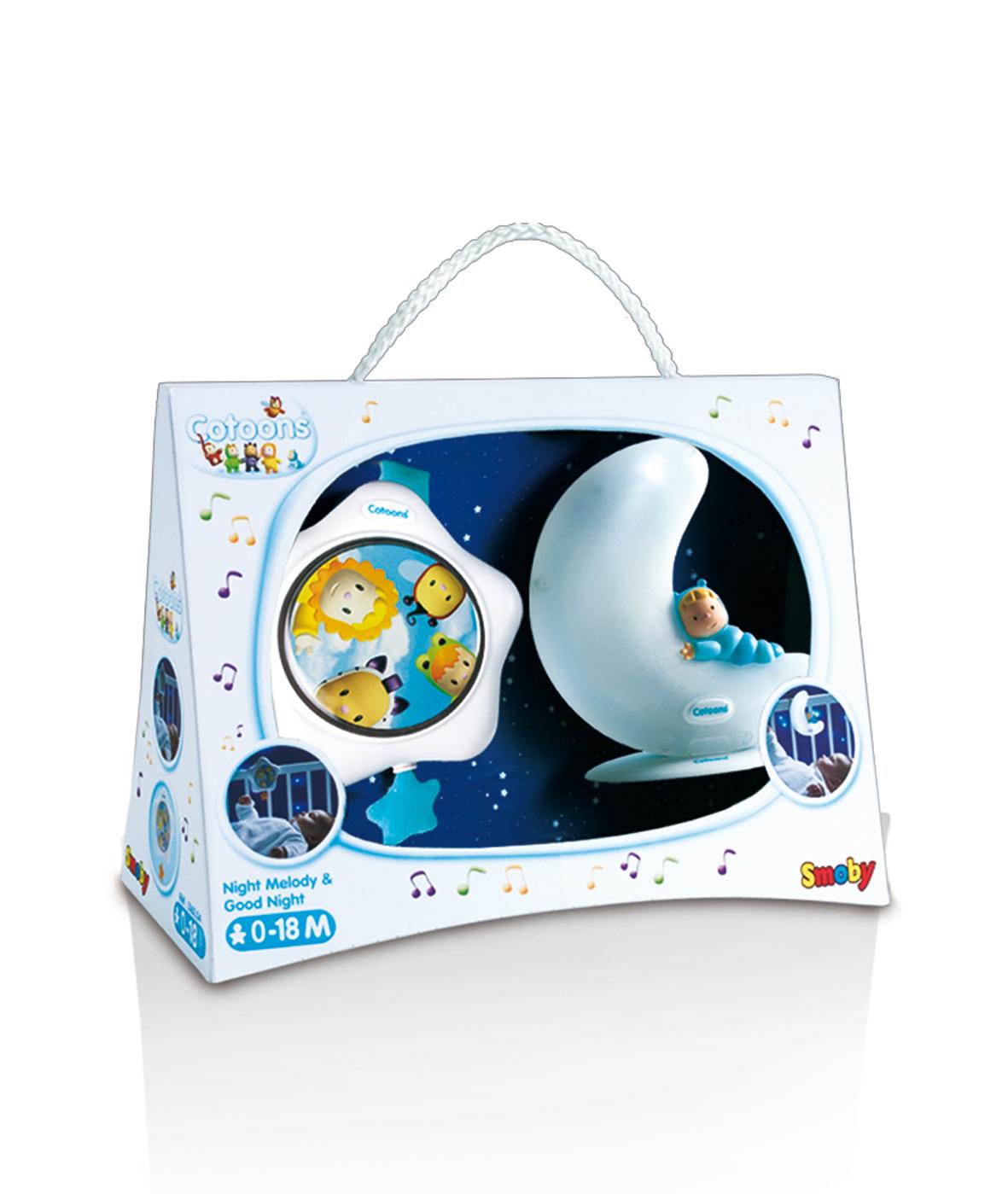 SMOBY 316204 modrý svietiaci mesiačik a hviezdička Cotoons pre najmenšie deti
