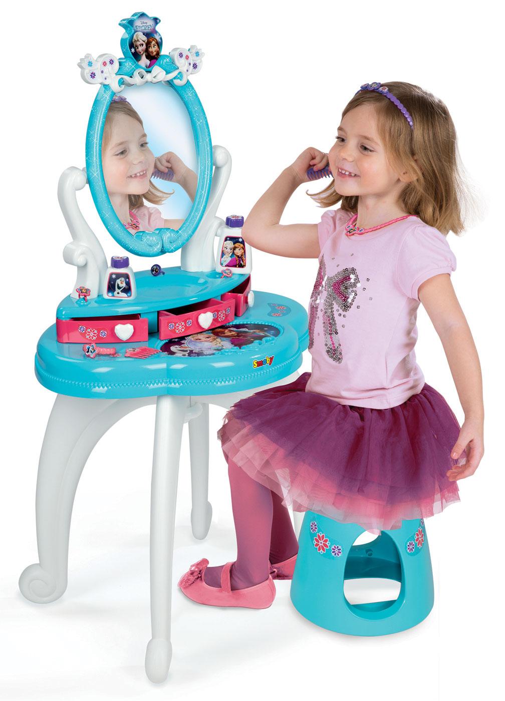 Detský kozmetický stolík Disney Frozen Smoby 2v1 so stoličkou a 10 doplnkami 320214 akvamarínový