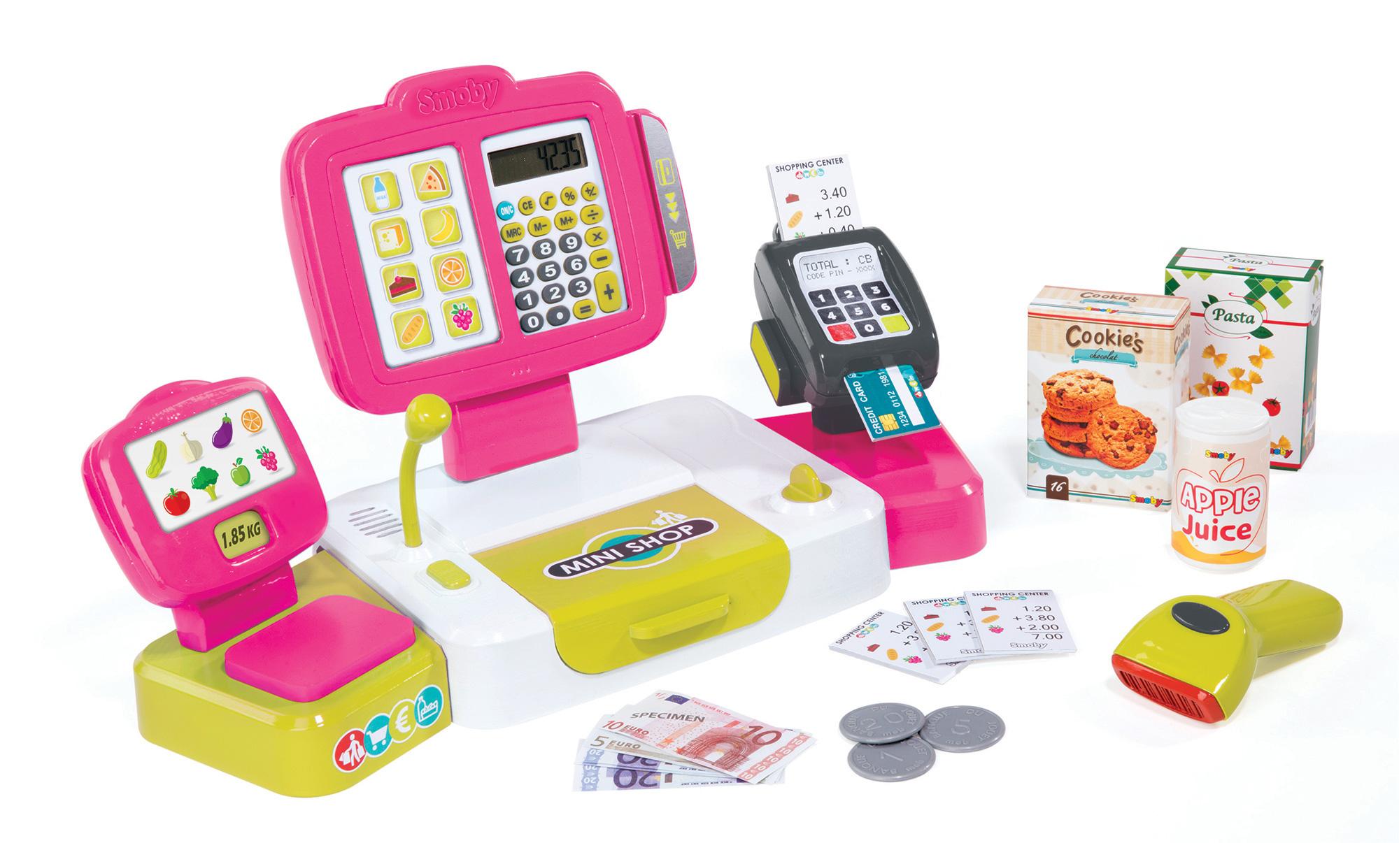 Pokladna Mini Shop elektronická s váhou Smoby s terminálem, čtečkou kódů a 27 doplňky růžová