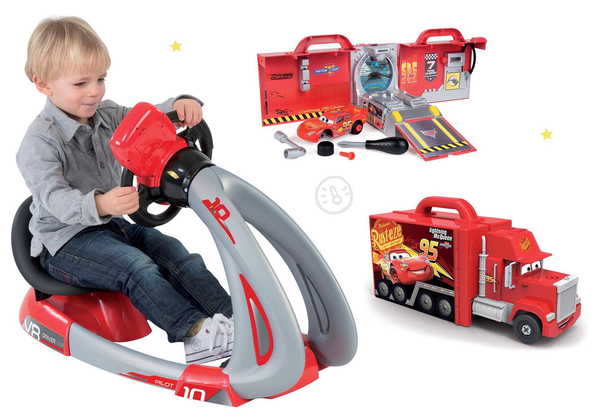 Smoby detský elektronický trenažér V8 Driver a elektronický kamión a auto Cars 370206-3