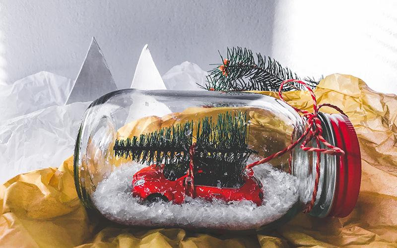 Božične dekoracije kozarec