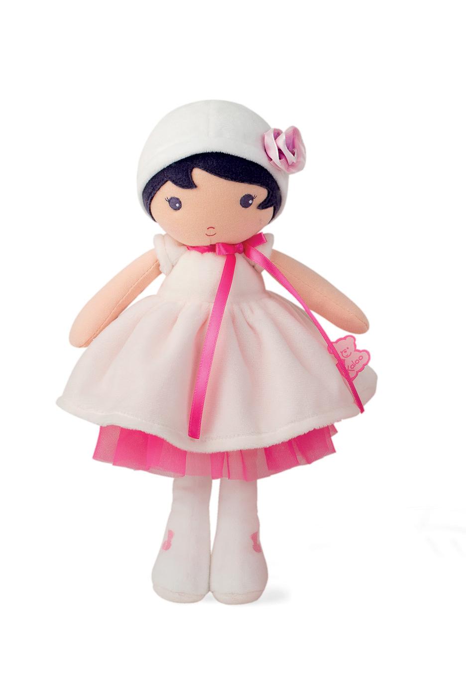 Bábika pre bábätká Perle K Tendresse Kaloo v bielych šatách z jemného textilu v darčekovom balení 32 cm