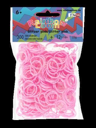 Rainbow Loom originálne trblietavé gumičky 300 kusov ružové od 6 rokov