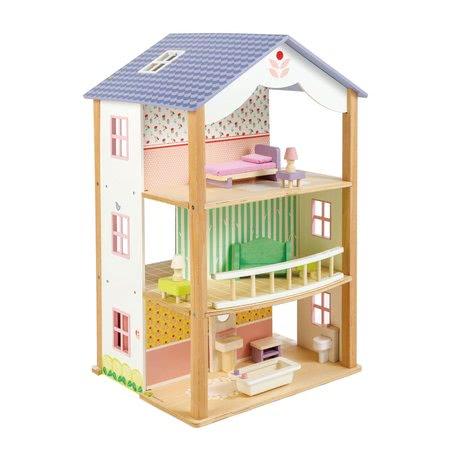 Drevený domček pre bábiku Bluebird Villa Tender Leaf Toys 15 dielov otvorený štýl s kompletným vybavením