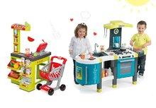 SMOBY 311200-5 set tyrkysová kuchynka Tefal French Touch so zvukmi a obchod Supermarket s pokladňou