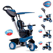 SMART TRIKE 1590300 trojkolka DREAM TEAM BLUE-BLACK TouchSteering 4v1 s tlmičom a taškou čierno-modrá od 10-36 mesiacov