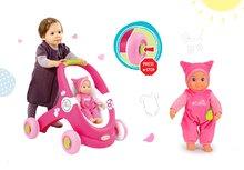 Smoby 210201-1 set svetloružový kočík a chodítko MiniKiss a ružová bábika so zvukom v čiapočke