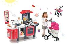Smoby 311300-5 set červená kuchynka Tefal Superchef s grilom a kočík 3v1 pre bábiku