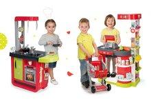 SMOBY 350204-3 szupermarket City Shop elektronikus pénztárgéppel és bevásárlókocsival + játékkonyha Cherry Special hangokkal és kávéfőzővel