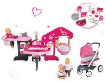 Set domeček pro panenku Baby Nurse Smoby trojkřídlý, panenka a kočárek 3v1 retro Maxi Cosi&Quinny
